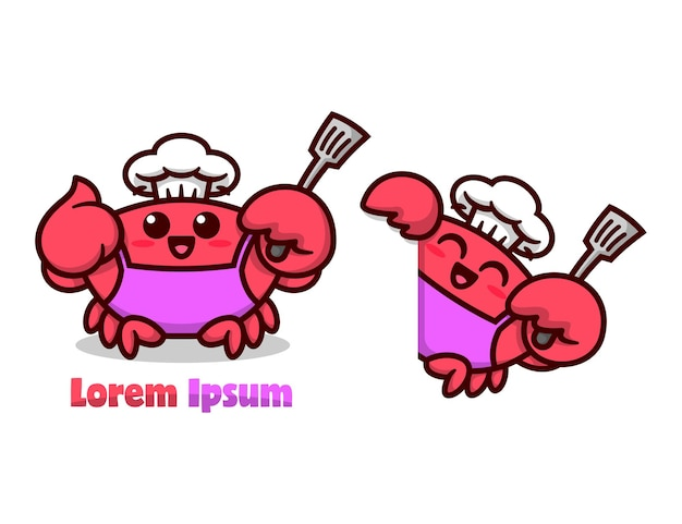 Sveglio granchio rosso con cappello da cuoco e grembiule e intende una spatola set mascotte fumetto di alta qualità