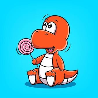 Simpatico cartone animato rosso dino tenere lecca-lecca illustrazione vettoriale