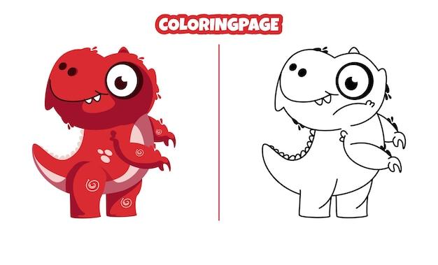 Simpatico dinosauro rosso con pagine da colorare