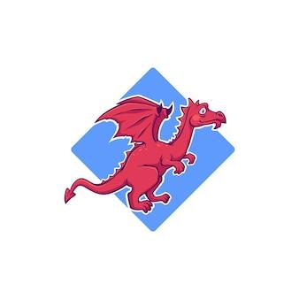 Simpatico drago rosso, mostro dei cartoni animati per il tuo logo, etichetta, emblema