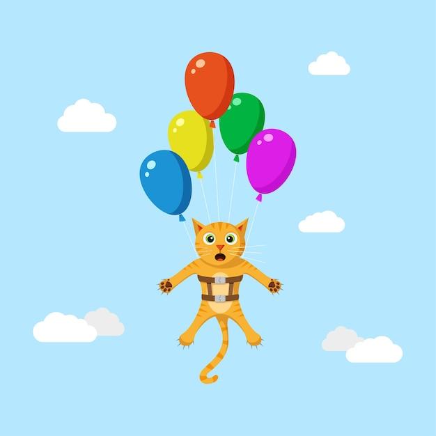 Simpatico gatto rosso divertente volare alto utilizzando palloncini.