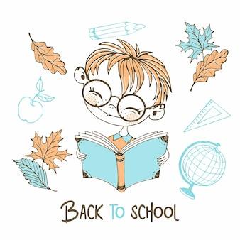 Ragazzo carino dai capelli rossi che legge un libro. di nuovo a scuola. vettore.