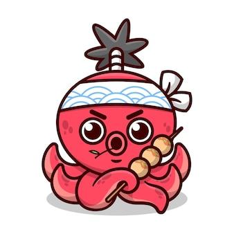 Polpo rosso sveglio con stile di capelli samurai indossando la fascia giapponese e portando il disegno della mascotte del fumetto di alta qualità di takoyaki