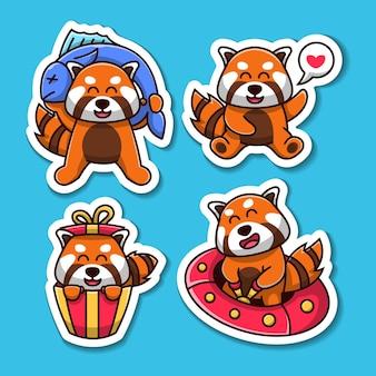 Insieme dell'autoadesivo dell'illustrazione del personaggio dei cartoni animati del panda rosso sveglio