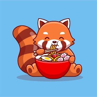 Simpatico panda rosso che mangia ramen noddle personaggio dei cartoni animati. cibo per animali isolato.
