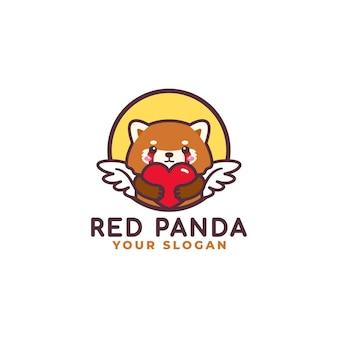 Panda rosso sveglio che abbraccia il negozio del bambino della mascotte di logo di cura del cuore