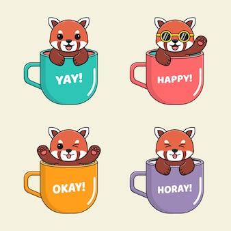 Carino panda rosso all'interno della tazza