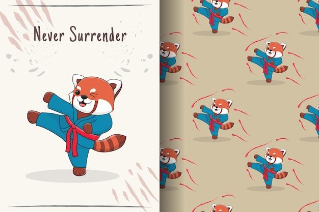 Modello senza cuciture ed illustrazione di calcio marziale sveglio del panda rosso