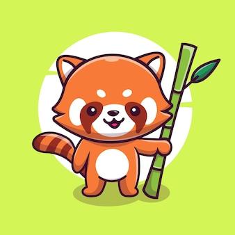 Simpatico panda rosso mascotte personaggio illustrazione icona vettoriale