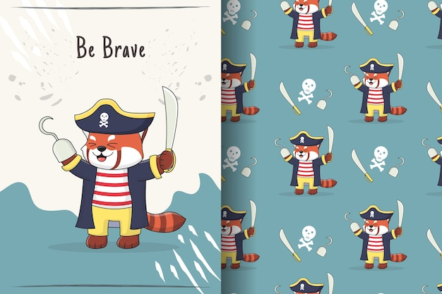 Carino panda rosso pirati seamless pattern e illustrazione