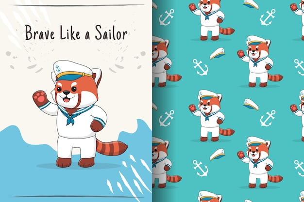 Modello senza cuciture ed illustrazione del marinaio sveglio del panda rosso