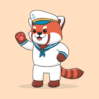 Marinaio carino panda rosso