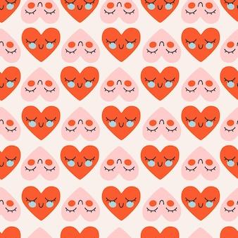 Modello carino cuore rosso e rosa