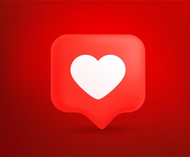 Nuvola di discorso rosso carino con segno di amore.