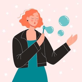 Ragazza carina rossa soffia bolle di sapone. il concetto di divertimento, celebrazione, buon umore. personaggio femminile piatto