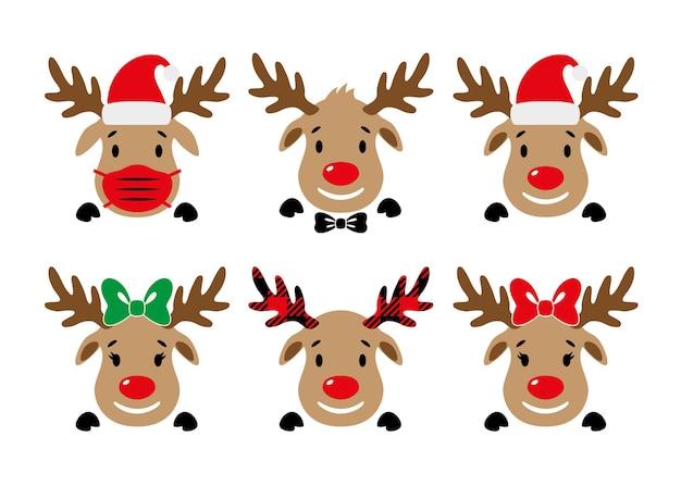 Simpatica renna dal naso rosso con maschera per il viso cappello da babbo natale con fiocco faccia di cervo