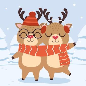 Coppia carina di renne indossa una grande sciarpa in illustation stile piatto