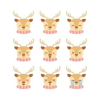 Set di emoticon carino renna