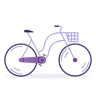 Bicicletta da città carina retrò lavanda con cesto isolato su sfondo bianco