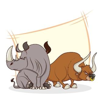 Simpatici personaggi dei cartoni animati comici di rinoceronte e toro