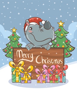 Simpatico personaggio dei cartoni animati di rinoceronte - illustrazione di natale