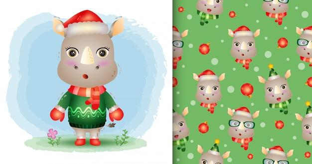 Una simpatica collezione di personaggi natalizi di rinoceronti con cappello, giacca e sciarpa. modelli senza cuciture e illustrazioni
