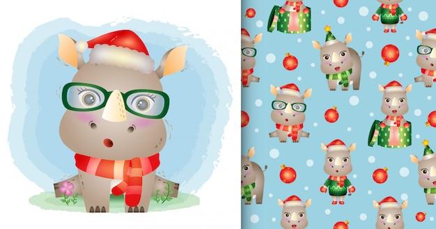 Un simpatico personaggio natalizio di rinoceronte con cappello e sciarpa di babbo natale. modelli senza cuciture e illustrazioni