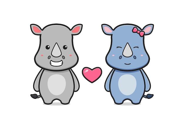 Illustrazione sveglia dell'icona del fumetto delle coppie di rinoceronte. design piatto isolato in stile cartone animato