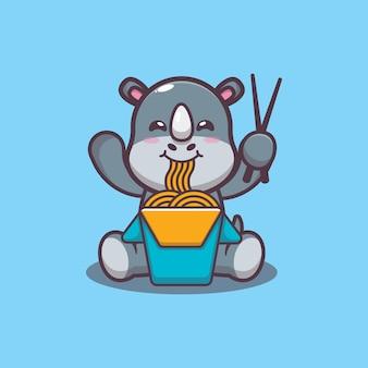 Simpatico rinoceronte che mangia noodle fumetto illustrazione vettoriale