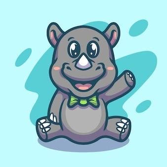 Simpatico disegno di illustrazione della mascotte del rinoceronte