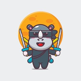 Simpatico rinoceronte ninja icona del fumetto illustrazione vettoriale