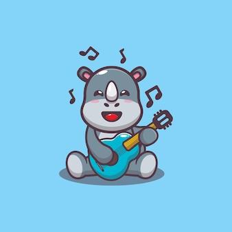 Simpatico rinoceronte che suona la chitarra fumetto illustrazione vettoriale