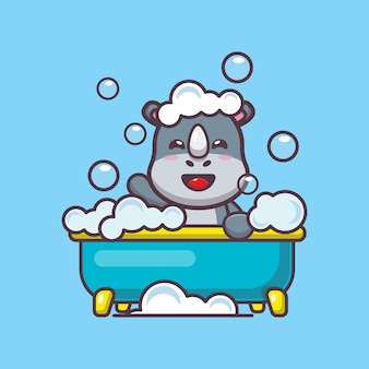 Simpatico rinoceronte che fa un bagno di bolle nell'illustrazione vettoriale dei cartoni animati della vasca da bagno