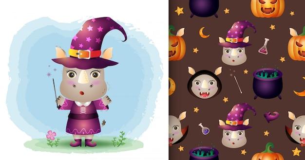Un simpatico rinoceronte con collezione di personaggi di halloween in costume. modelli senza cuciture e illustrazioni