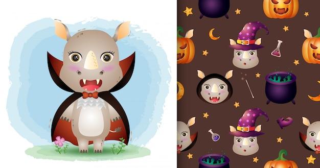 Un simpatico rinoceronte con il costume di dracula collezione di personaggi di halloween. modelli senza cuciture e illustrazioni