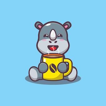 Simpatico rinoceronte con illustrazione vettoriale di caffè caldo cartone animato