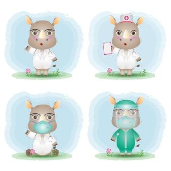 Simpatico rinoceronte con collezione di costumi da medico e infermiera del personale medico