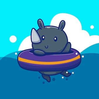 Simpatico rinoceronte con nuotata ring icon illustration. concetto animale dell'icona di estate isolato. stile cartone animato piatto