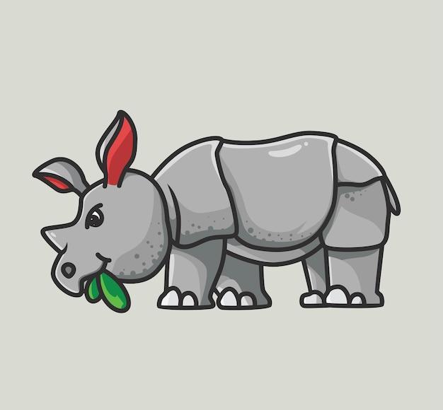 Rinoceronte sveglio che mangia un alimento dell'erba. rinoceronte carino alzando lo sguardo con la pelle spessa. cartoon animale piatto stile illustrazione icona premium logo vettoriale mascotte adatto per il web design banner carattere