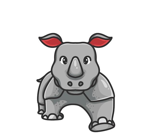 Rinoceronte carino a piedi. concetto di natura animale del fumetto illustrazione isolata. stile piatto adatto per sticker icon design premium logo vettoriale. personaggio mascotte