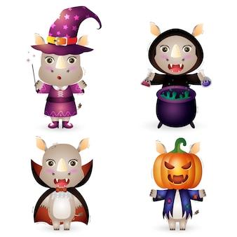 Simpatici rinoceronti con collezione di personaggi di halloween in costume