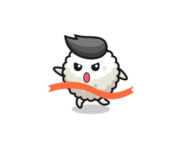 L'illustrazione carina della palla di riso sta raggiungendo il traguardo, il design in stile carino per t-shirt, adesivo, elemento logo