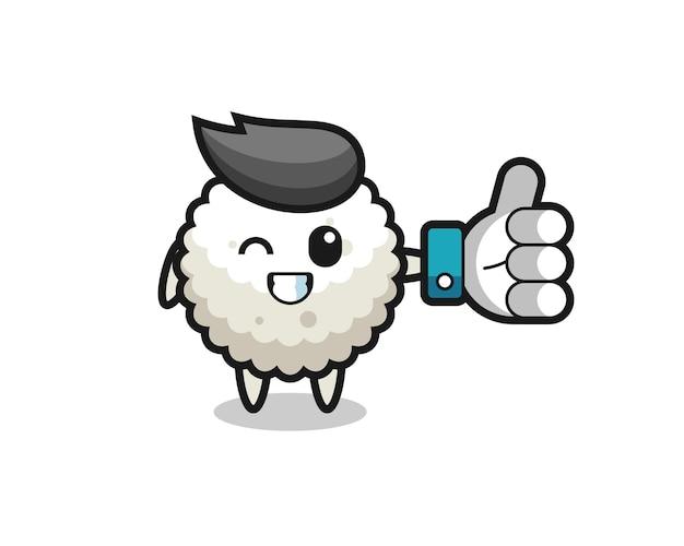 Simpatica pallina di riso con simbolo del pollice in alto sui social media, design in stile carino per maglietta, adesivo, elemento logo