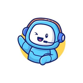 Illustrazione sveglia dell'icona di vettore del fumetto del robot. vettore premio isolato concetto dell'icona del robot di tecnologia. stile cartone animato piatto