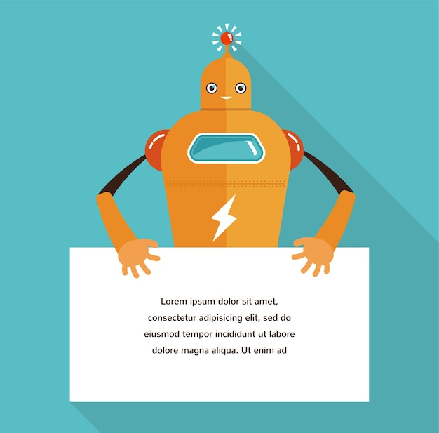 Simpatico personaggio robot con un banner per il testo