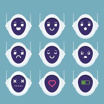 Carino robot testa avatar emozione emoji androide concetto