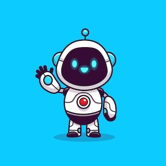 Illustrazione sveglia dell'icona del robot. concetto dell'icona del robot di tecnologia isolato. stile cartone animato piatto