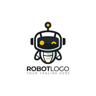 Simpatico robot mascotte logo personaggio dei cartoni animati illustrazione