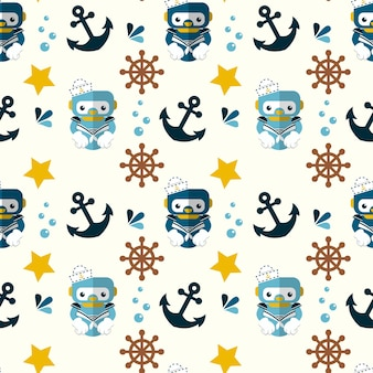 Simpatico robot nautico e simboli marini senza cuciture