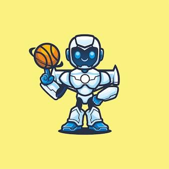 Simpatico robot che gioca a basket design mascotte dei cartoni animati